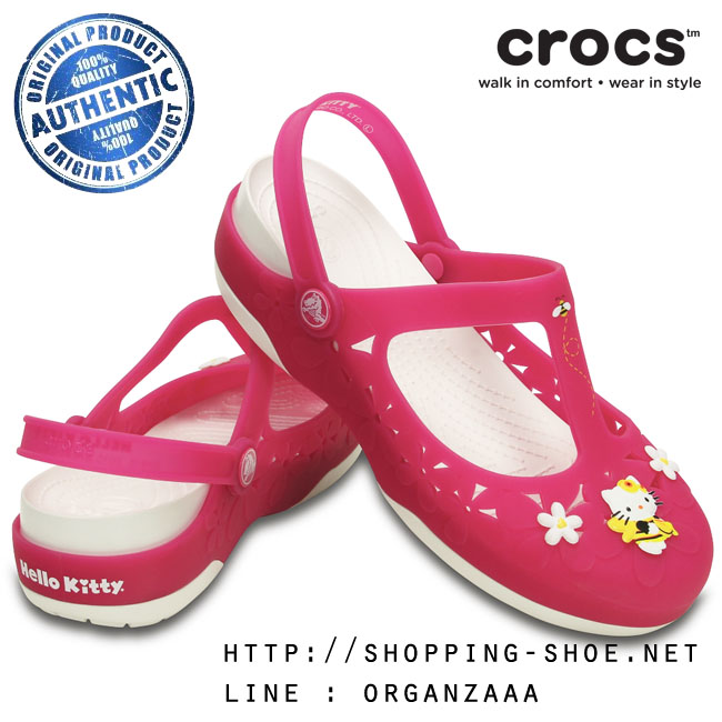 W7 (24 cm.) : Crocs Carlie Hello Kitty Flower Mary Jane - Fuchsia / White ของแท้ Outlet ไทยและอเมริกา