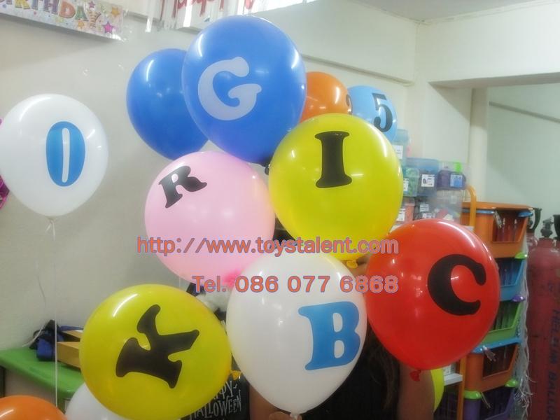 """ลูกโป่งกลมพิมพ์ลาย ตัวหนังสือ A-Z ไซส์ 12 นิ้ว จำนวน 1 ใบ (Round Balloons 12"""" - Printing Letter A-Z latex balloons)"""