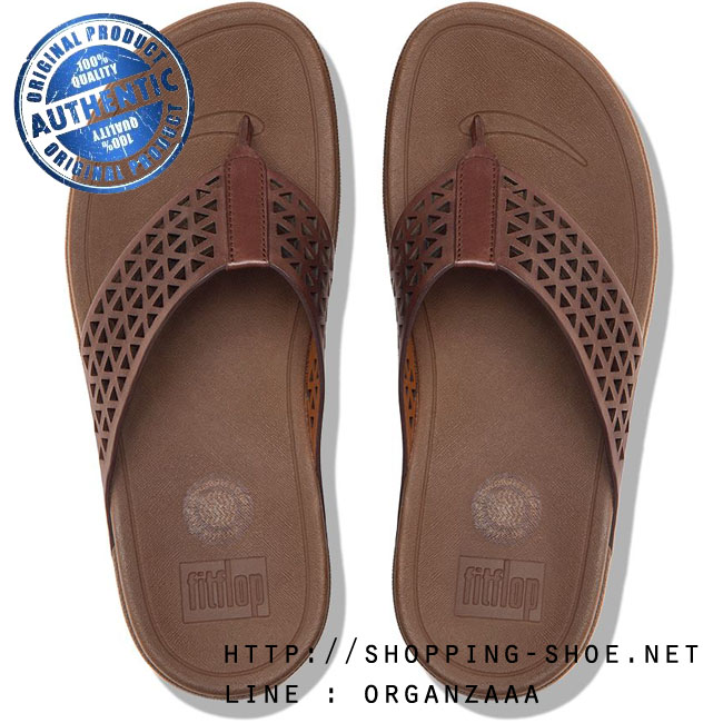 US7 : Fitflop Surfa Leather Lattice Dark Tan ของแท้ นำเข้าจาก USA และ UK