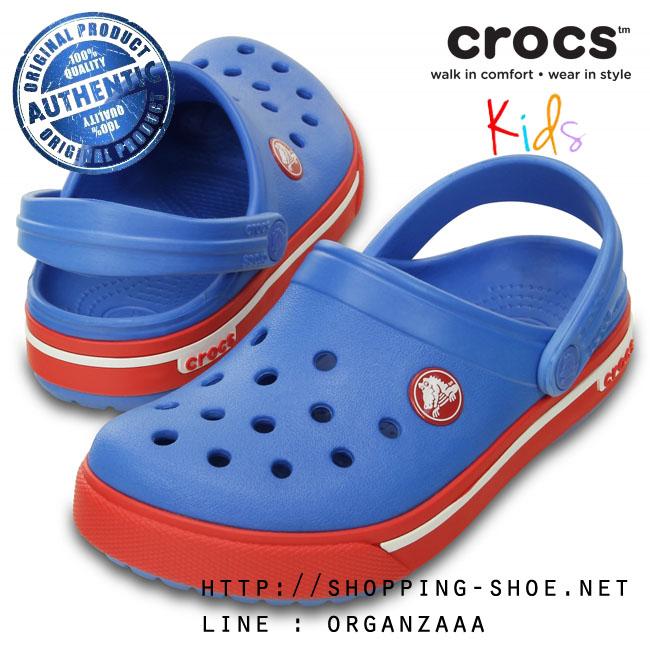 C8/9 (16 cm.) : Crocband II.5 Clog Kids - Varsity Blue / Red ของแท้ Outlet ไทยและอเมริกา