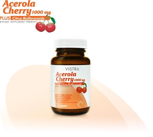 Vistra Acerola Cherry Vitamin C 1000 mg 60 แคปซูล [ขวดกลาง] เสริมภูมิคุ้มกัน ลดอาการภูมิแพ้ สังเคราะห์คอลลาเจน บำรุงผิว