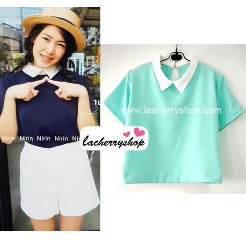 เสื้อแฟชั่น เสื้อทำงาน ผ้าฮานาโกะ สีเขียวมิ้นท์ พาสเทล สดใส คอปกเก๋ๆ แบบยอดนิยม สินค้าคุณภาพ ราคาไม่แพง