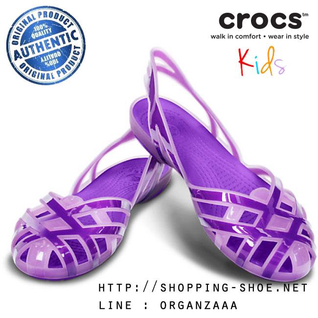 J6 : Crocs Kids Huarache Slingback Flat Girls J - Iris / Neon Purple ของแท้ Outlet ไทยและอเมริกา