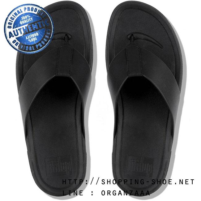 US10 : Fitflop Men's Surfer Leather Black ของแท้ นำเข้าจาก USA และ UK