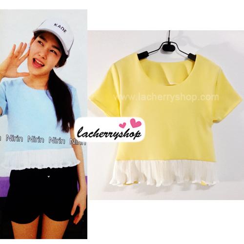 เสื้อแฟชั่น เสื้อทำงาน ผ้าฮานาโกะ สีเหลือง พาสเทล สดใส แต่งเอวผ้าซีฟองพริ้วๆ น่ารักมากๆ สินค้าคุณภาพ ราคาไม่แพง