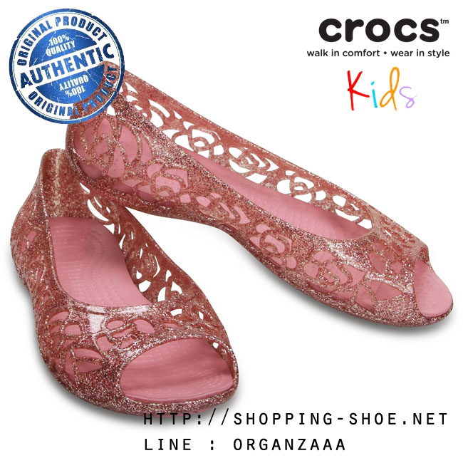 J5 (23.5 cm.) : Crocs Isabella Glitter Flat - Blossom ของแท้ Outlet ไทยและอเมริกา