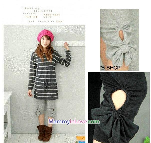 กางเกงเลคกิ้งคลุมท้อง ผ้าคอตตอน ผูกโบว์ : สีเทา รหัส PN108