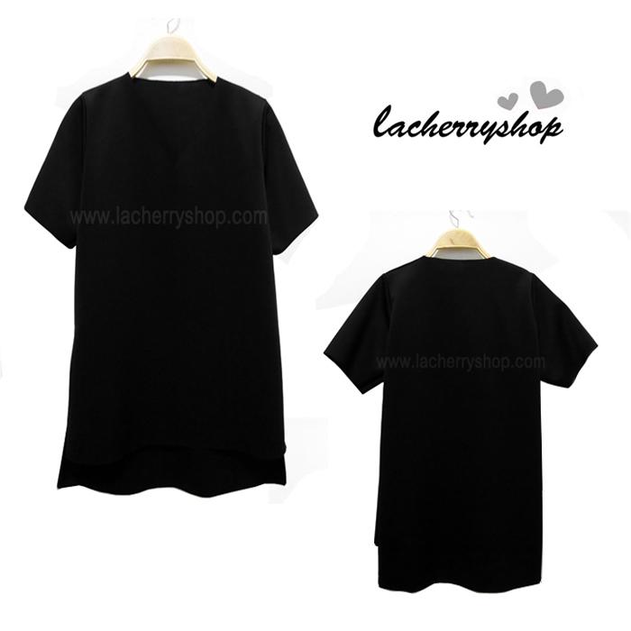 เสื้อแฟชั่น ตัวยาว มินิเดรส คอวี สีดำ แบบสวยเรียบหรู แต่งดีไซน์ด้านหน้าสั้น ด้านหลังยาว ใส่ได้หลายโอกาส สินค้าคุณภาพ ราคาไม่แพง