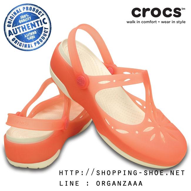 Crocs Carlie Cut Out Clog - Coral / Oyster ของแท้ Outlet ไทยและอเมริกา