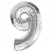 """ลูกโป่งฟอยล์รูปตัวเลข 9 สีเงิน ไซส์จัมโบ้ 40 นิ้ว - Number 9 Shape Foil Balloon Size 40"""" Silver Color"""