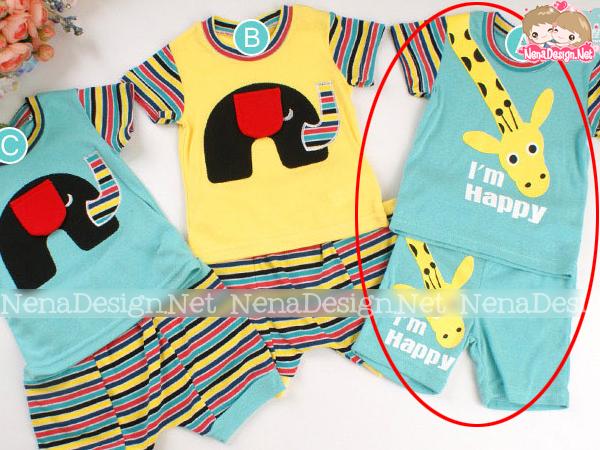 เสื้อผ้าเด็ก ชุดเด็กผู้หญิง เสื้อ + กางเกงลายยีราฟ