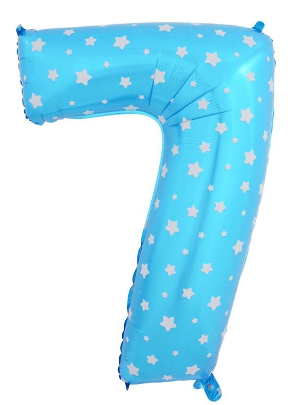 """ลูกโป่งฟอยล์รูปตัวเลข 7 สีฟ้าพิมพ์ลายดาว ไซส์จัมโบ้ 40 นิ้ว - Number 7 Shape Foil Balloon Size 40"""" Blue Color printing Star"""