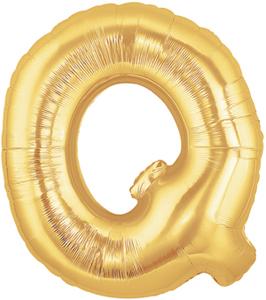 """ลูกโป่งฟลอย์รูปตัวอักษร Q สีทอง ไซส์จัมโบ้ 40 นิ้ว - Q Letter Shape Foil Balloon Size 40"""" Gold Color"""