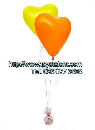 """ลูกโป่งหัวใจ เนื้อสแตนดาร์ทสีส้ม ไซส์ 12 นิ้ว แพ็คละ 10 ใบ (Heart Latex Balloon - Orange Color 12"""")"""