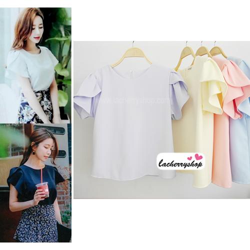 เสื้อผ้าแฟชั่นสวยๆ เสื้อทำงาน ทรงแขนกลีบบัว สีม่วง ผ้าฮานาโกะ แบบสวยหวานๆสไตล์เกาหลี