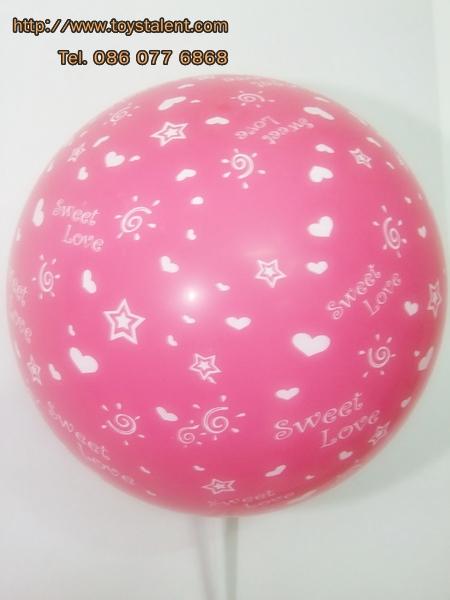 """ลูกโป่งกลมสีชมพู ช็อคกิ้งพิงค์ พิมพ์ลาย Sweet Love ไซส์ 12 นิ้ว แพ็คละ 10 ใบ (Round Balloons 12"""" - Printing Sweet Love Chocking Pink latex balloons)"""