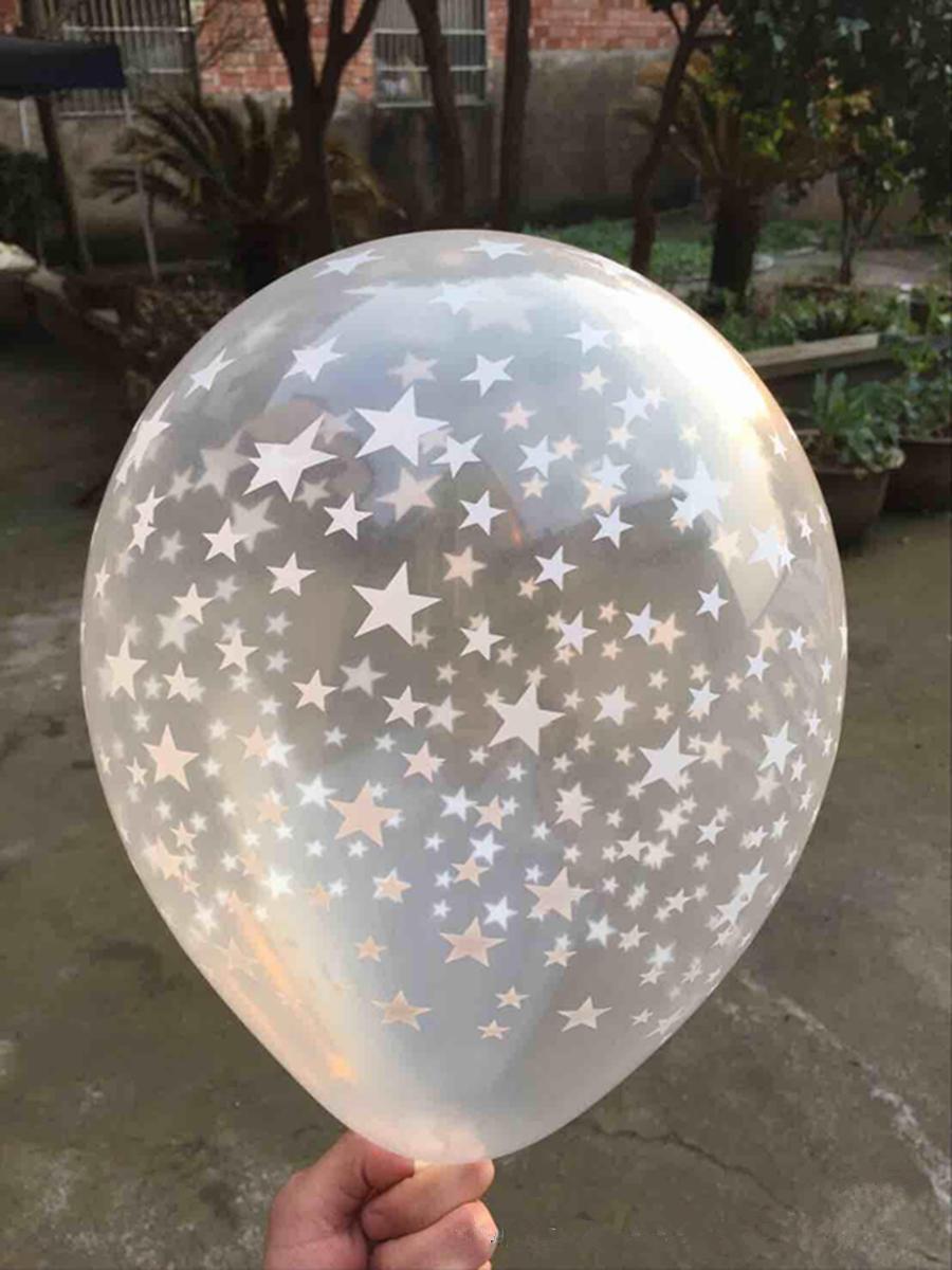 """ลูกโป่งกลมสีใส พิมพ์ลายดาว ไซส์ 12 นิ้ว แพ็คละ 10 ใบ (Round Balloons 12"""" - Printing Star Clear latex balloons)"""
