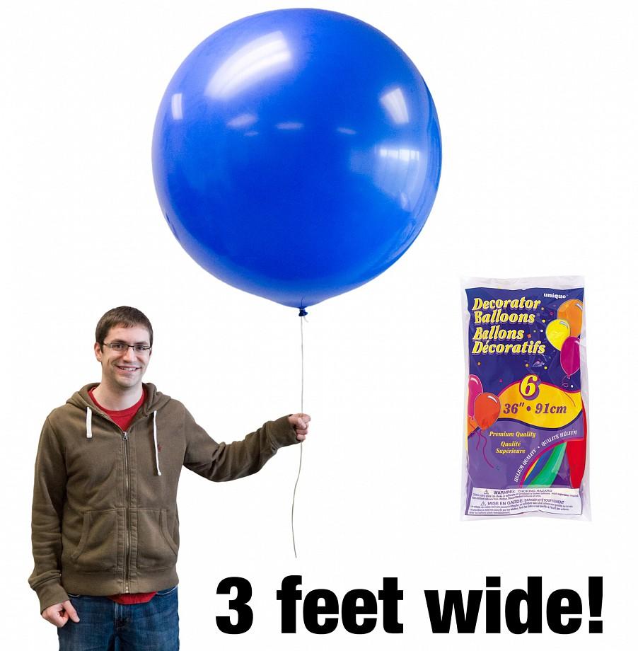 ลูกโป่งจัมโบ้ สีฟ้า ขนาด 36 นิ้ว - Round Jumbo Balloon Blue
