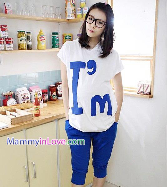 เสื้อพร้อมกางเกงคลุมท้อง สกีนลายไอแอม : สีขาว รหัส SH036
