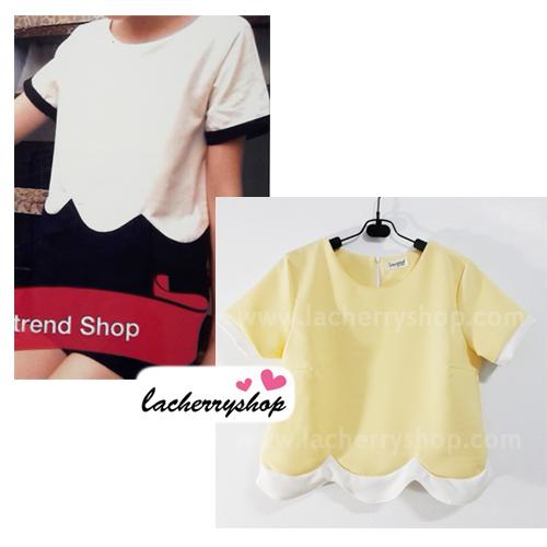 เสื้อแฟชั่น เสื้อทำงาน ผ้าฮานาโกะ สีเหลือง แบบสวยน่ารัก เป็นหยักๆช่วงเอว เนื้อผ้านิ่ม อยู่ทรง ไม่ยับง่าย ใส่สบาย สินค้าคุณภาพ ราคาไม่แพง