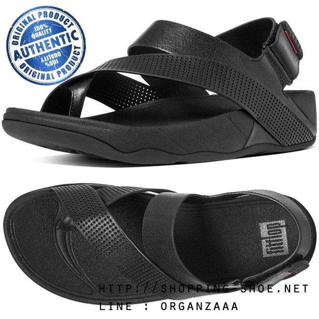 US10 : Fitflop Sling Perf Leather Black ของแท้ นำเข้าจาก USA และ UK
