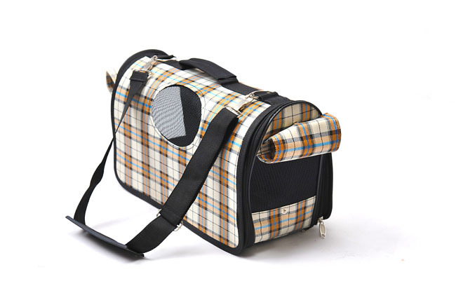 กระเป๋าน้องหมาน่ารักๆไซด์ M สก็อตครีมน้ำเงิน