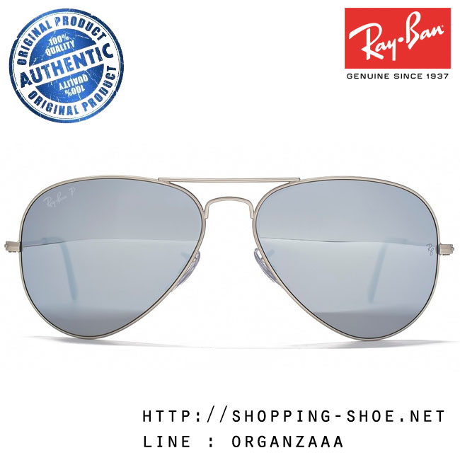 RayBan - RB3025 019/W3 Aviator Polarized Crystal Silver Lens, 58 mm.