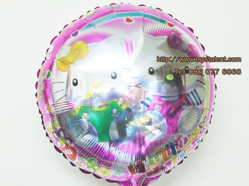 ลูกโป่งฟลอย์กลม ลายคิตตี้ ไซส์ 18 นิ้ว - Hello Kitty Round Shape Balloon / Item No. TL-A079