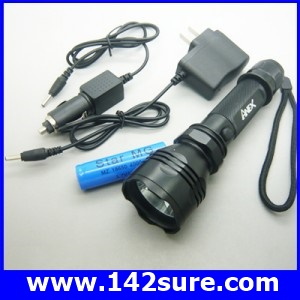 FLZ007 ไฟฉายซูม LED ความสว่างสูง Super ULtraFire LED Cree Q3 LED fishing flashlight พร้อมถ่านชาร์ท+ ที่ชาร์ทแบต