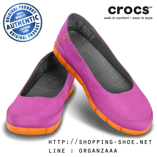W7 (24 cm.) : Crocs Women's Stretch Sole Flat - Vibrant Violet / Orange ของแท้ Outlet ไทยและอเมริกา