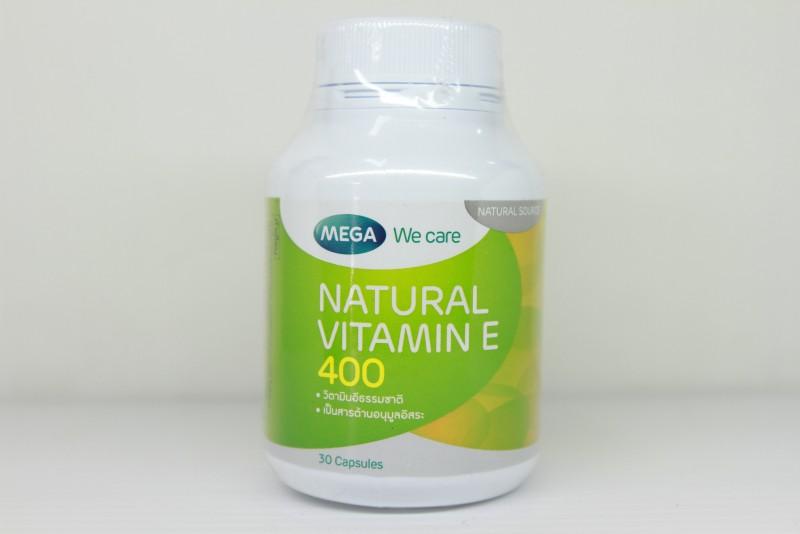Mega We Care Natural Vitamin E 400 30 เม็ด ป้องกันริ้วรอย ให้ความชุ่นชื่น ชะลอการเสื่อมของเซลล์