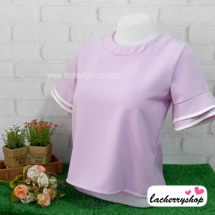 เสื้อแฟชั่น เสื้อทำงาน ผ้าฮานาโกะ สีม่วง พาสเทล สวยหวาน แต่งระบายแขนเสื้อริ้วสีขาว สินค้าคุณภาพ ราคาไม่แพง