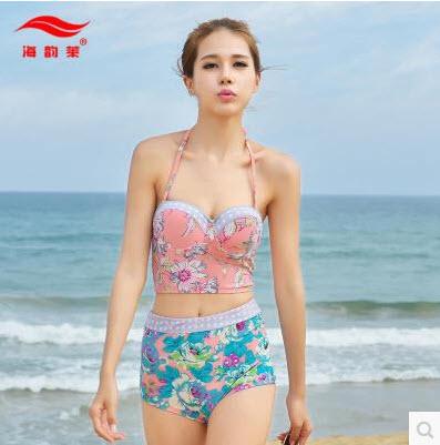 พร้อมส่ง ชุดว่ายน้ำเอวสูง สีชมพู ลายดอกไม้สวยๆ