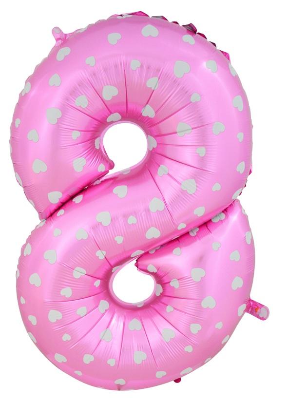 """ลูกโป่งฟอยล์รูปตัวเลข 8 สีชมพูพิมพ์ลายหัวใจ ไซส์จัมโบ้ 40 นิ้ว - Number 8 Shape Foil Balloon Size 40"""" Pink Color printing Heart"""