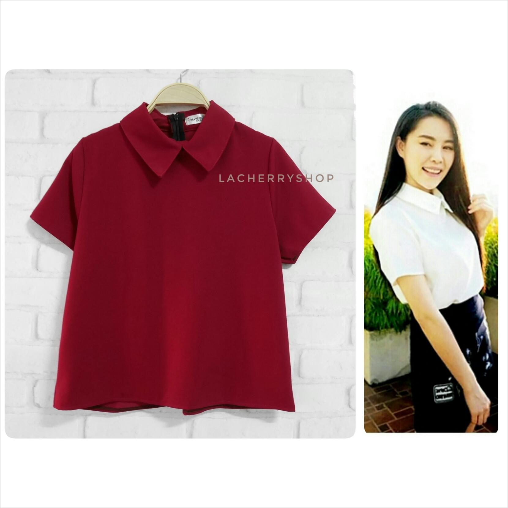 เสื้อแฟชั่นผ้าฮานาโกะ (สีแดง) รุ่นปกแหลม แบบสวยเก๋ สีพื้น แมทง่าย ใส่สบาย ไม่มีเอ้าท์