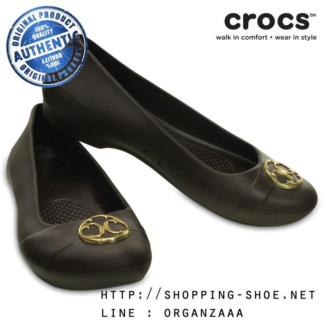 W6 (23 cm.) : Crocs Gianna Disc Flat - Espresso / Gold ของแท้ Outlet ไทยและอเมริกา