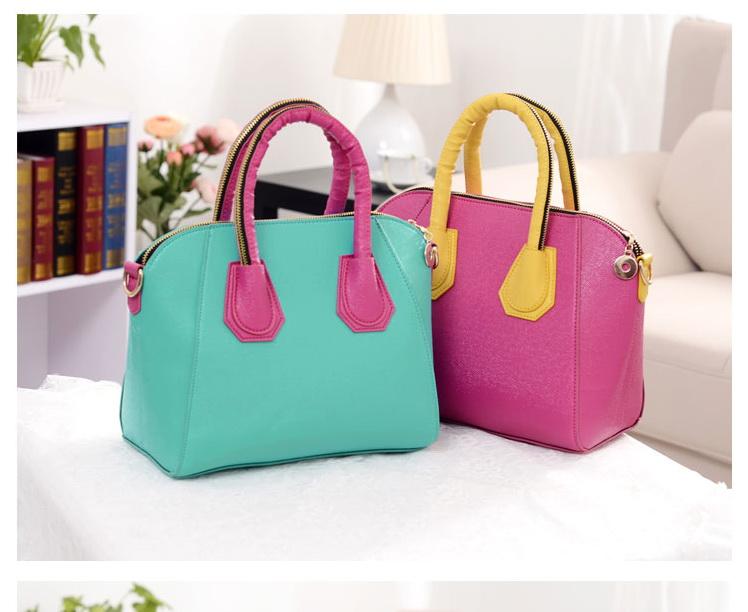 พร้อมส่งจ้า*** กระเป๋าแฟชั่น ทรงสวยเรียบหรู สีเขียวฟ้า สายสีชมพู เก๋ๆ สามารถถือและสะพายได้ทั้งสองแบบ