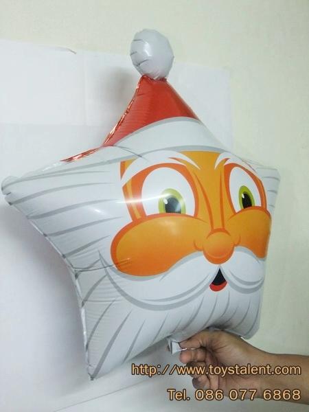 ลูกโป่งฟลอย์ หน้าซานต้าคลอส ทรงดาว - Santa Face Foil Star Balloon / Item No.TL-A107