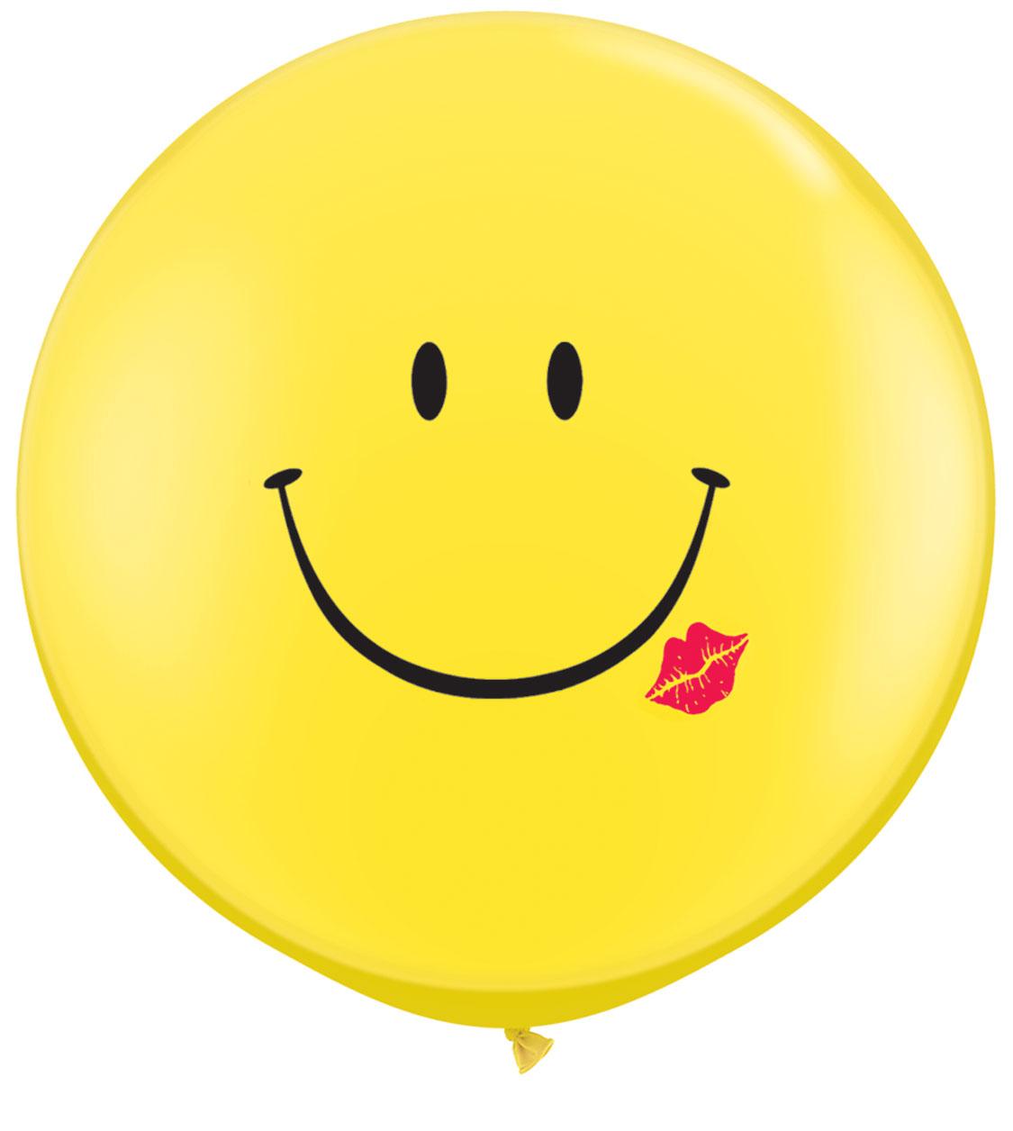 """ลูกโป่งกลมจัมโบ้ไซส์ใหญ่ 36""""Latex Balloon RB Yellow -Print Smily สีเหลืองพิมพ์ลายหน้ายิ้ม / Item No.TQ-28150 แบรนด์ Qualatex"""