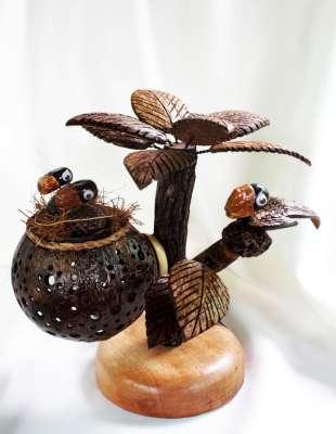 Coconut Shell Lamp (Tree and Birds) โคมไฟกะลามะพร้าวต้นไม้และรังนก