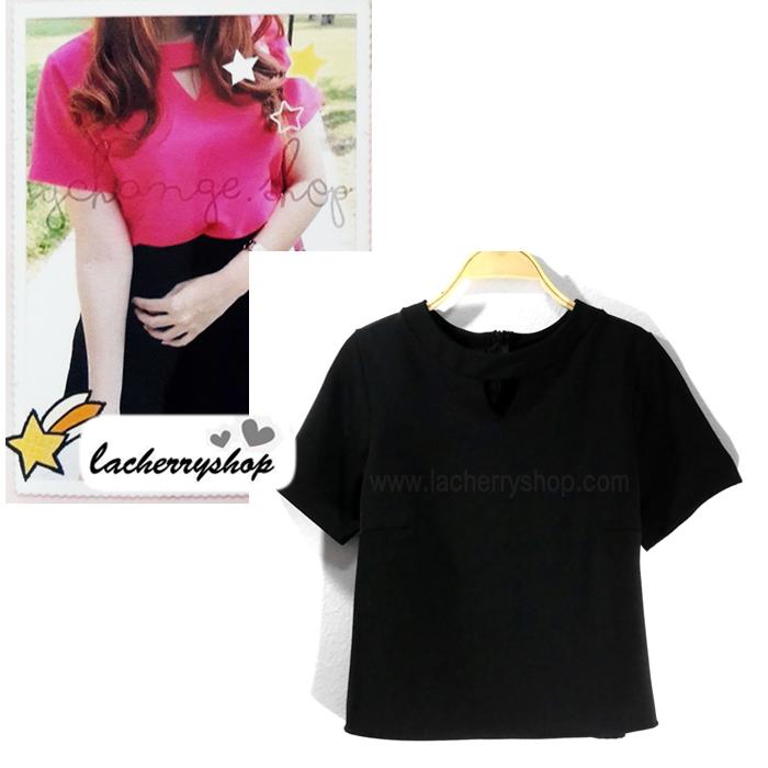 เสื้อแฟชั่น เสื้อทำงาน ผ้าฮานาโกะ สีดำ แบบสวย เจาะคอ สไตล์เกาหลี สินค้าคุณภาพ ราคาไม่แพง