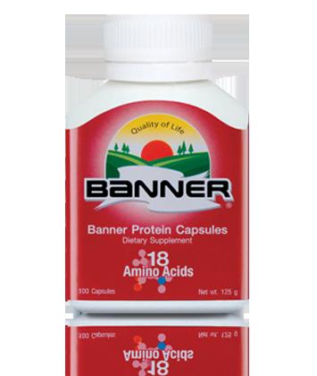 Banner protein แบนเนอร์โปรตีน เหมาะกับคนที่อ่อนเพลีย ทำงานหนัก รับประทานอาหารไม่ครบ 5 หมู่ ให้อะมิโนแอซิด รวม 18 ชนิด เหมาะสำหรับผู้ที่ต้องการดูแลสุขภาพร่างกาย 100 แคปซูล