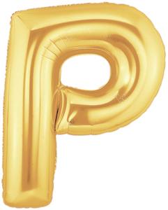 """ลูกโป่งฟลอย์รูปตัวอักษร P สีทอง ไซส์จัมโบ้ 40 นิ้ว - P Letter Shape Foil Balloon Size 40"""" Gold Color"""