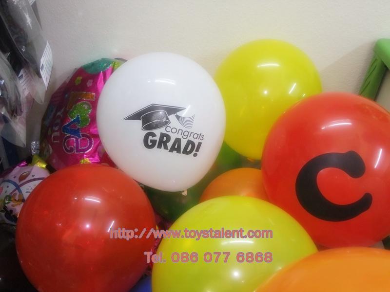 """ลูกโป่งกลมพิมพ์ลาย Congrats รับปริญญา คละสี คละแบบ ไซส์ 10 นิ้ว แพ็คละ 10 ใบ (Round Balloons 10"""" - Congrats Printing latex balloons)"""