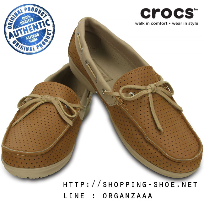 W6 (23 cm.) : Crocs Women's Wrap ColorLite Perforated Loafer - Hazelnut / Tumbleweed ของแท้ Outlet ไทยและอเมริกา
