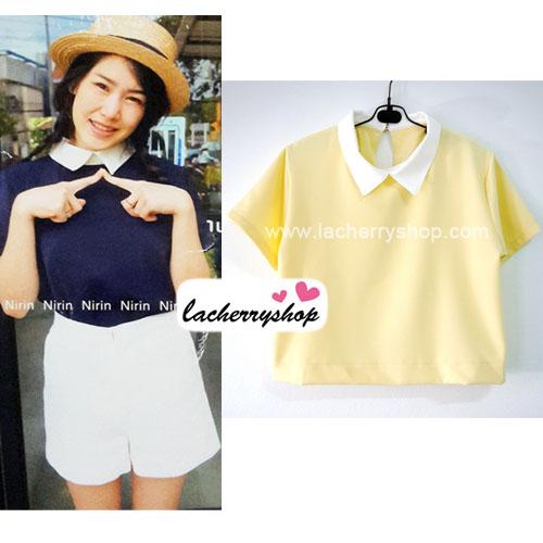 เสื้อแฟชั่น เสื้อทำงาน ผ้าฮานาโกะ สีเหลือง พาสเทล สดใส คอปกเก๋ๆ แบบยอดนิยม สินค้าคุณภาพ ราคาไม่แพง