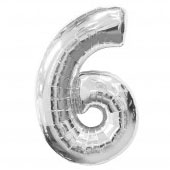 """ลูกโป่งฟอยล์รูปตัวเลข 6 สีเงิน ไซส์จัมโบ้ 40 นิ้ว - Number 6 Shape Foil Balloon Size 40"""" Silver Color"""