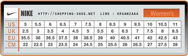 nike,nike size,nike women,ตารางไซส์รองเท้า