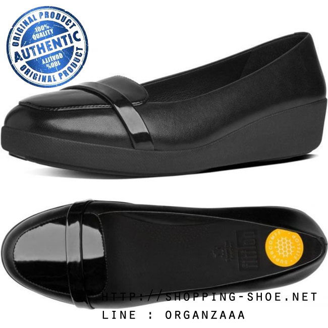 US6 : Fitflop F-Pop Loafer Black Leather and Patent Mix ของแท้ นำเข้าจาก USA และ UK