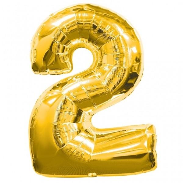 """ลูกโป่งฟอยล์รูปตัวเลข 2 สีทองไซส์เล็ก 14 นิ้ว - Number 2 Shape Foil Balloon Size 14"""" Gold Color 2"""
